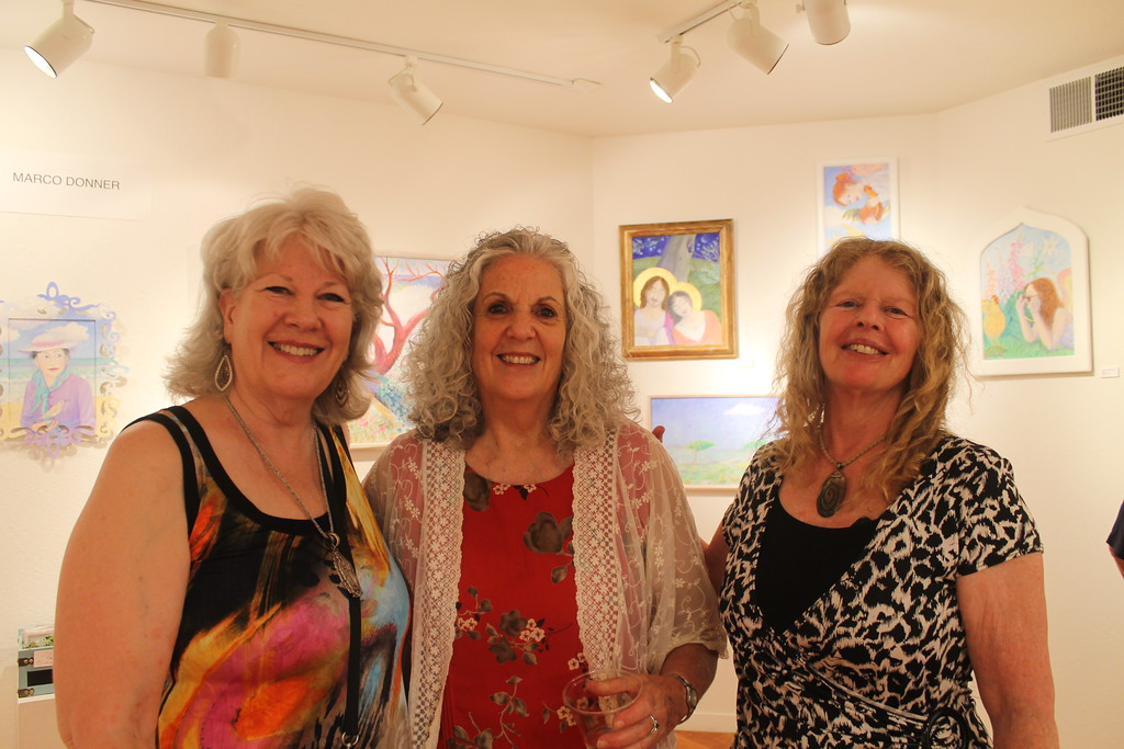 . Janice Cinek (left), Barbara Willens (center) and Divora Stern (right), at the Willits Center for the Arts opening on Friday.