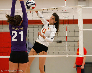Chico High's Kylie Johnson spikes the ball over the net during a volleyball game against Willow High School September 20, 2016 Chico, Calif. (Emily Bertolino -- Enterprise-Record)