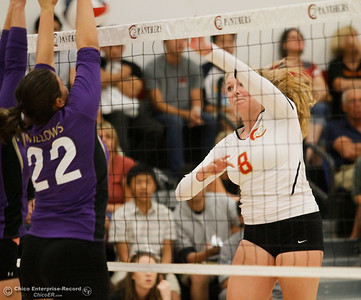 Chico High's Regan Murray spikes the ball as Willow High tries to block her shot September 20, 2016 Chico, Calif. (Emily Bertolino -- Enterprise-Record)