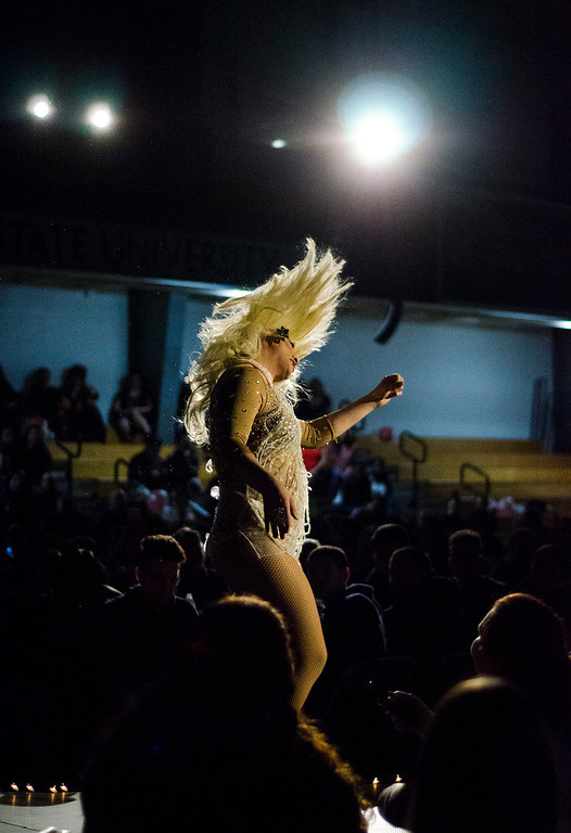 . Ivy League performs during the \'Willy Wonka and Her Drag Factory\' drag show at Fitchburg State University on Thursday, March 30, 2017. SENTINEL & ENTERPRISE / Ashley Green