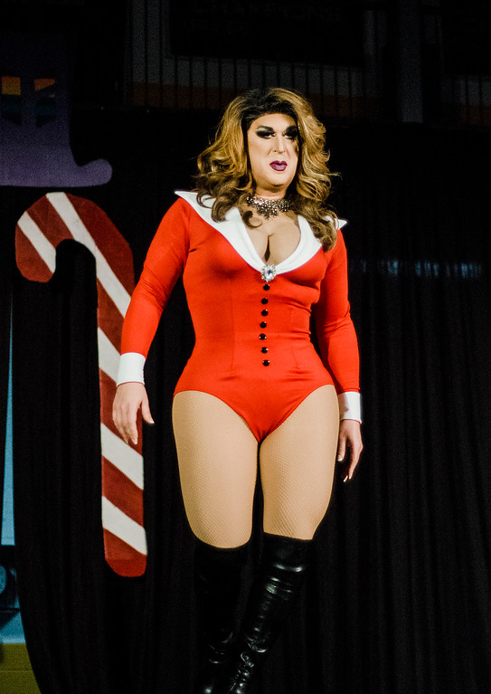 . Sabrina performs during the \'Willy Wonka and Her Drag Factory\' drag show at Fitchburg State University on Thursday, March 30, 2017. SENTINEL & ENTERPRISE / Ashley Green