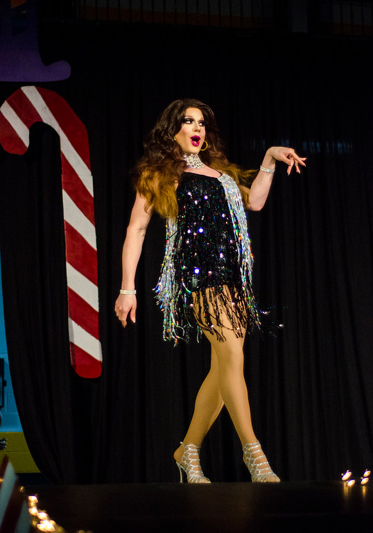 . Roxy Brooks performs during the \'Willy Wonka and Her Drag Factory\' drag show at Fitchburg State University on Thursday, March 30, 2017. SENTINEL & ENTERPRISE / Ashley Green