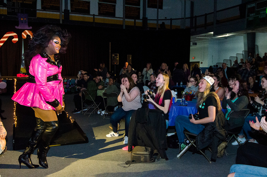 . Mizery performs during the \'Willy Wonka and Her Drag Factory\' drag show at Fitchburg State University on Thursday, March 30, 2017. SENTINEL & ENTERPRISE / Ashley Green