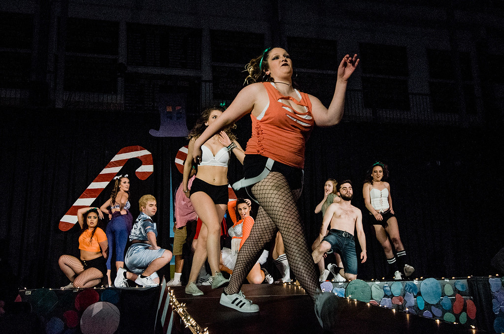 . FSU students perform ahead of the \'Willy Wonka and Her Drag Factory\' drag show at Fitchburg State University on Thursday, March 30, 2017. SENTINEL & ENTERPRISE / Ashley Green