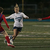 Wilmington High School girls soccer team played Burlington High School at home on Monday night.  WHS's Kayla McCauley control the ball as she tries to go by BHS's #4 Danielle Lynch and #5 Madison LeBaron. SUN/JOHN LOVE
