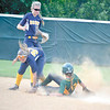 Corey J. Corbin/NEWS<br /> Deer Lakes' Rachel Tanilli beats the tag of Wilmington's Chelsea Rogel yesterday.