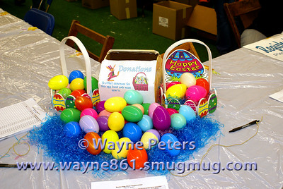 Donation box, used to help offset the expenses for the annual Easter Egg hunt.