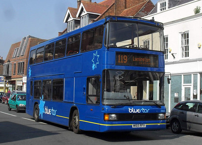 1665 - W165RFX - Lymington (high street) - 18.4.11  Legally still owned by Wilts & Dorset - used on BlueStar branded services.