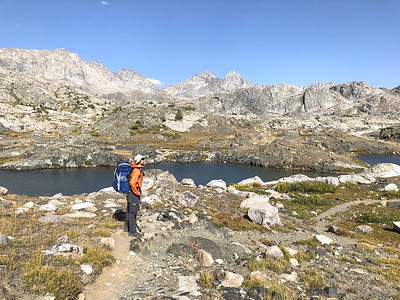 Andrew approaching Elbow Lake
