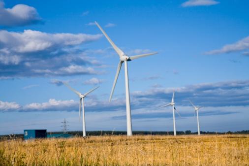 UK, Scotland, Grampian, Boyndie, wind turbines in field