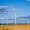 UK, Scotland, Grampian, Boyndie, wind turbines in field