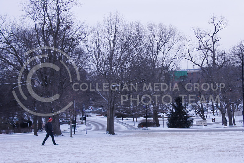 Some students braved the cold to get to in-person classes on campus on  Monday, Feb. 15, 2021. The forecasted high in Manhattan was 0°F, but it felt like -20°F throughout the day. (Kaylie McLaughlin | Collegian Media Group)