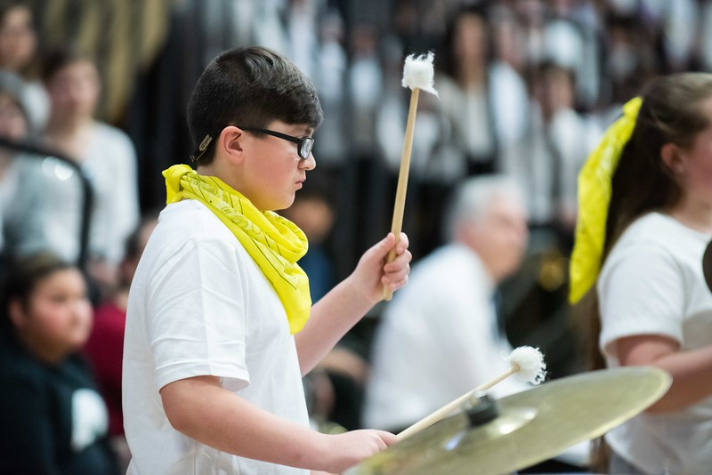 KELLY FLETCHER, REFORMER CORRESPONDENT -- Anthony Doell, from the Academy School Band, plays percussion in the 33rd annual all-district band concert at BUHS Wednesday night.  250 Windham Southeast students in grades 5-12 participated in both afternoon music sessions and an evening concert.