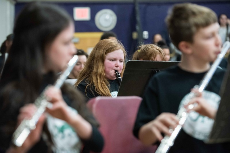 """KELLY FLETCHER, REFORMER CORRESPONDENT -- Students fom the Green Street School band play """"Feel it Still"""" in the 33rd Annual All-District Band Night as part of a celebration of """"Music in Our Schools Month"""".  250 Windham Southeast students in grades 5-12 participated in both afternoon music sessions and an evening concert."""