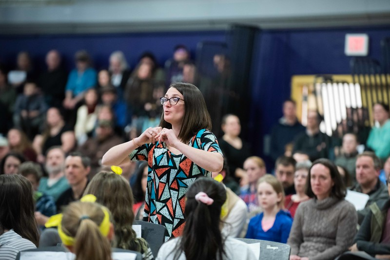 KELLY FLETCHER, REFORMER CORRESPONDENT -- Bri Davenport directs the Academy School Band during the all district band concert Wednesday night.  After their performance, Bri was honored by Steve Rice for being named Outstanding New Music Educator by the VT Music Educators Association, District VI.