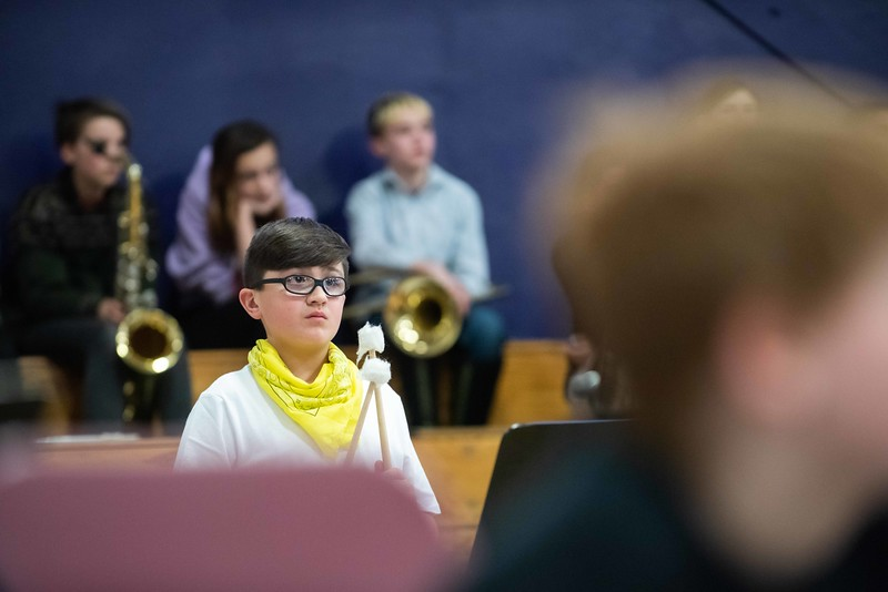 KELLY FLETCHER, REFORMER CORRESPONDENT -- Anthony Doell, from the Academy School Band, waits for his cue during the 33rd annual all-district band concert at BUHS Wednesday night.  250 Windham Southeast students in grades 5-12 participated in both afternoon music sessions and an evening concert.