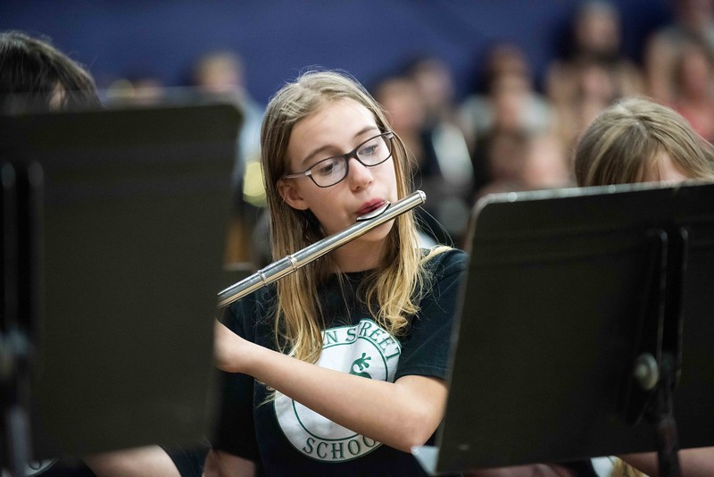 "KELLY FLETCHER, REFORMER CORRESPONDENT -- A student fom Green Street School plays flute in the 33rd Annual All-District Band Night as part of a celebration of ""Music in Our Schools Month"".  250 Windham Southeast students in grades 5-12 participated in both afternoon music sessions and an evening concert."