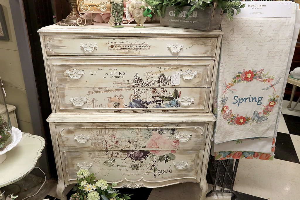 . Windmill Florist & Gifts in Ashby, March 29, 2019. This is a French painted dresser with cedar drawers in the shop. SENTINEL & ENTERPRISE/JOHN LOVE