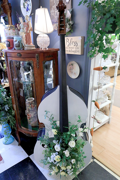 . Windmill Florist & Gifts in Ashby, March 29, 2019. A decorated cello on sale in the shop. SENTINEL & ENTERPRISE/JOHN LOVE