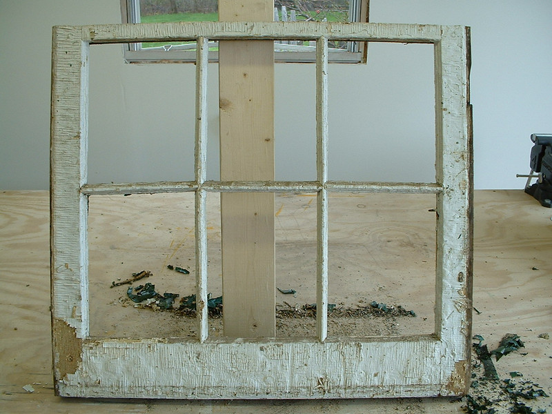 Six-light sash BEFORE restoration.