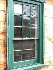Late 1700's nine-over-six window BEFORE restoration.