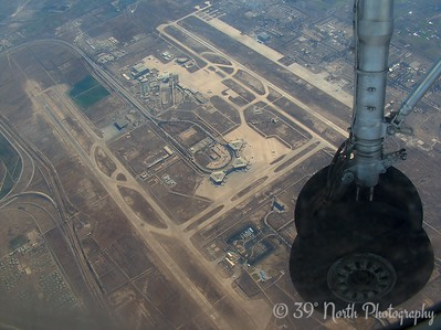 Spiraling down for a landing at the Baghdad International Airport