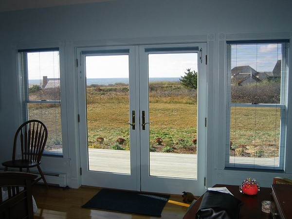"""1/2 """" Aluminum Micro Blinds on windows. Duettes on French Doors"""
