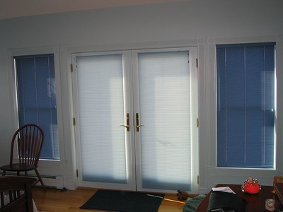 "1/2 "" Aluminum Micro Blinds on windows. Duettes on French Doors"
