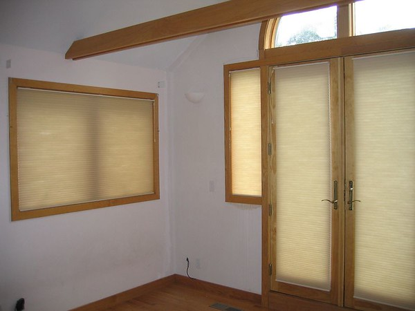 Duette Honeycomb shades on windows and French Doors