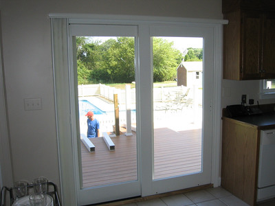 Duette VertiGlide fully open on sliding door