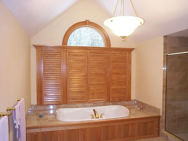 Plantation shutters, closed for privacy