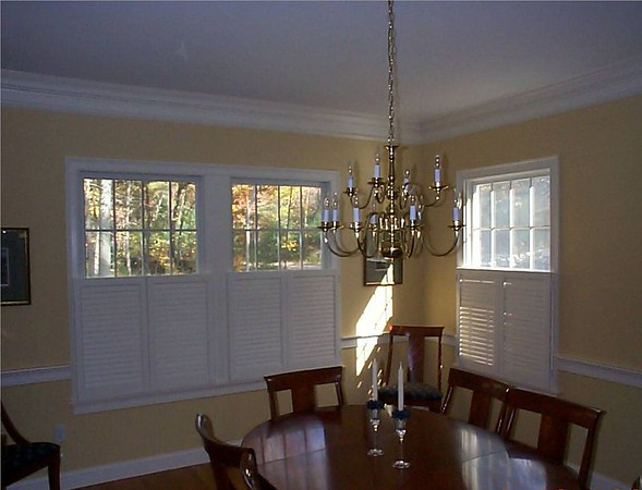 Plantation shutters cafe' style, closed in dining room