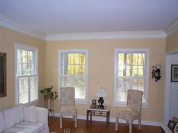 Plantation shutters cafe' style, open in living room
