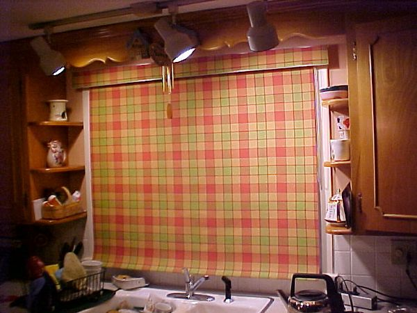 Laminated Roller shade, down for privacy.