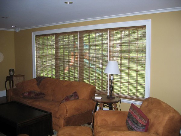 Woven Wood Roman Shades, lowered