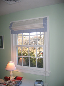 Roman Shades with contrast banding, raised