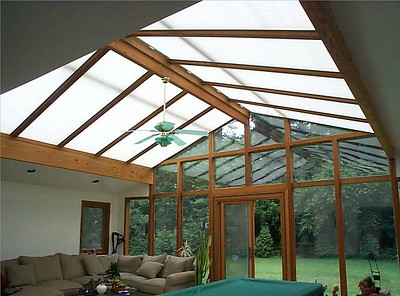 Cellular Skylight shades in sunroom