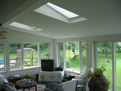 SkyRise Skylight shades in sunroom