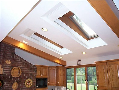 Cellular Skylight shades kitchen, open