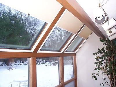 SkyRise Skylight shades in sunroom