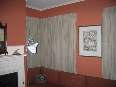 Linen draperies in Study