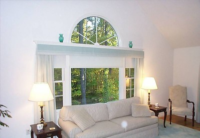 Duette shades under drapery panels & matching cornice