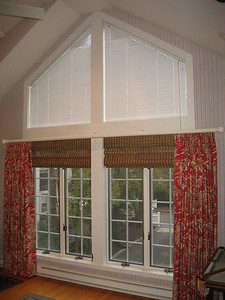 Angle Top Micro Blinds, Woven Wood shades & B/O draperies