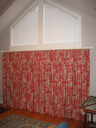 Angle Top Micro blinds & B/O draperies on Decorative Pole