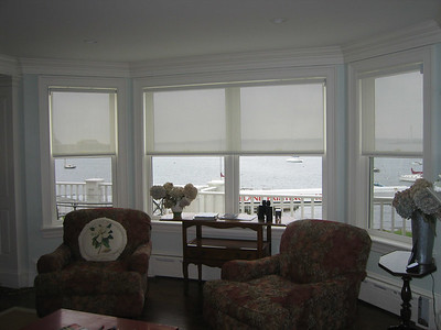 Solar Screen Shades in Bay Window