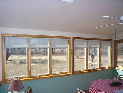 Solar Screen roller shades, partly lowered