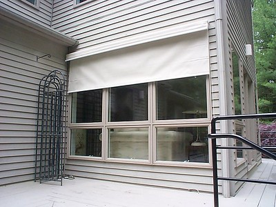 Exterior Solar Screen shade, partly open for sun glare protection