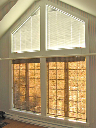 Angle Top Micro Blinds above & Woven Wood shades below
