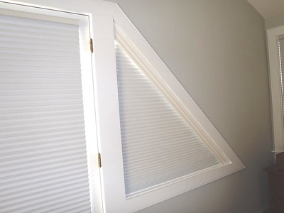 Triangular Window with Duette Specialty Shade (closed)