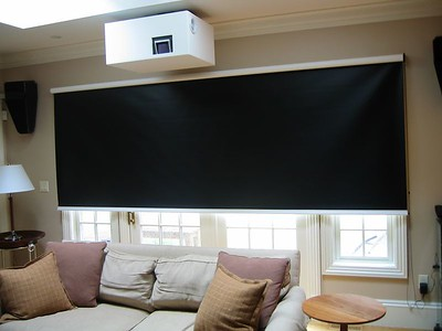 Black-out roller shade in Media Room